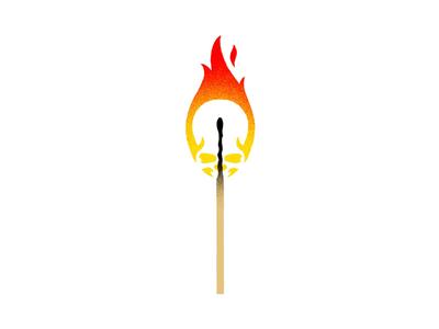 Fire Skull matchstick illustration