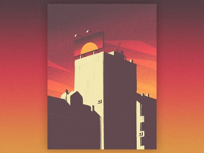 Fake Sunset flat palace fake town billboard gradient sky metropoly city sunset