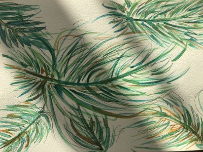 Watercolour Illustration - Tropical leaves