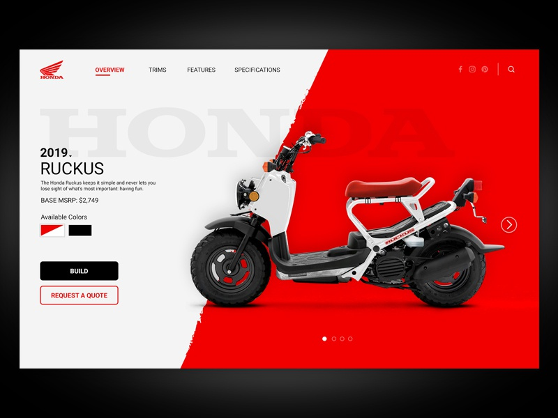 Ruckus Website Concept website webdesign web ux ui screen prototype interaction design hero ruckus honda digital design concept