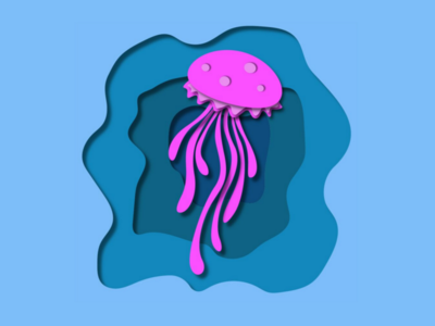 Jellyfish paper cutout illustration