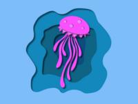 Jellyfish paper cutout illustration