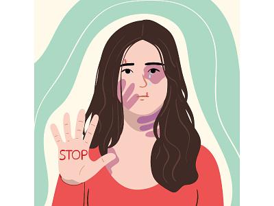 Stop gender violence illustration vector illustration