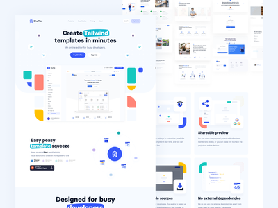 Shuffle.dev - Homepage: An online editor for busy developers. template developers shapes landing development bootstrap sass react tailwindcss tailwind material-ui bulma ux ui