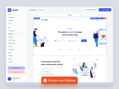 Shuffle.dev - Editor Release on Product Hunt tech front-end development uxui ux website site landing material-ui bulma bootstrap tailwind editor template