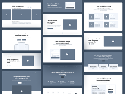 Shuffle UX - Components Library wireframe design wireframe kit wireframe saas ux components landing shapes developers template