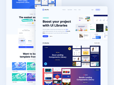 UI Libraries by Shuffle visual editor ui libraries tailwind material-ui marketplace editor drop drag bulma bootstrap ui design blocks development frontend components libraries uiux ux ui