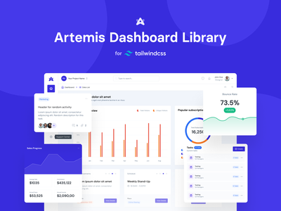 Artemis Dashboard for Tailwind CSS 🥳 frontend development drop drag and drop drag blocks ui  ux ui design libraries components bulma material-ui bootstrap dashboard tailwind ui libraries visual editor
