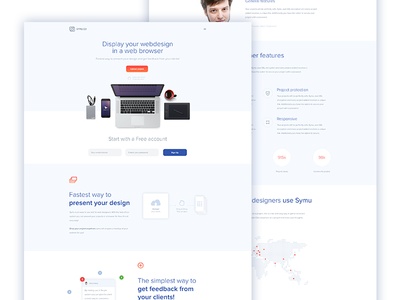 Redesign concept Symu.co logo interactive mobile fresh clean design present responsive web ux ui symu