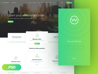 Westa FREE PSD Template and Mobile App