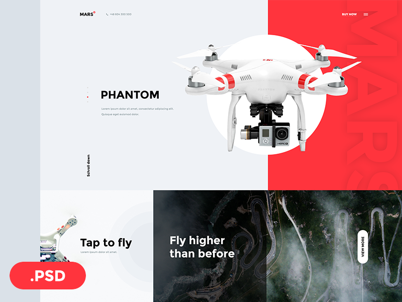Mars Free PSD Template phantom page product symu ux ui fly red drone mars