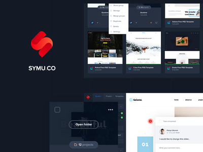 Symu - Present your designs view ux upload ui symu red project new group dark blue