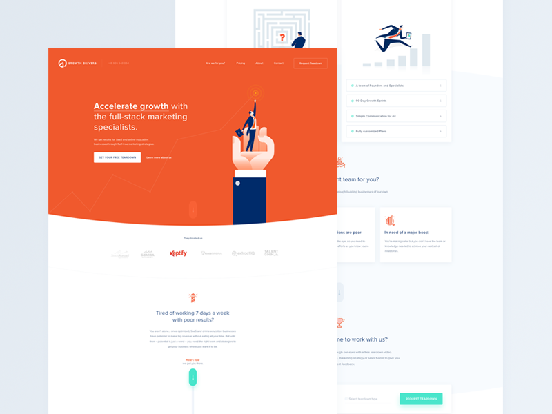 Growth Drivers Homepage ux ui green orange illustration accelerate agency homepage drivers growth