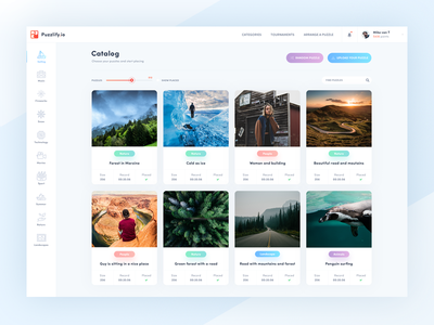 Puzzlify catalog preview 🌄 tool ui ux puzzle tournaments fun colorfull