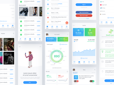 Citizen Health - Mobile App ui ux health cryptocurrency vote purchase spend mobile app ios clean