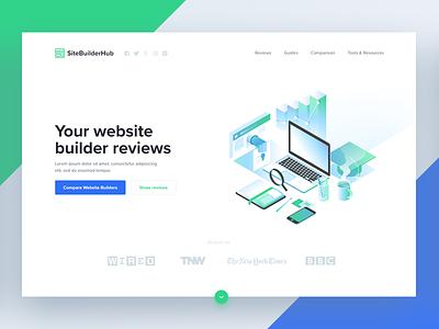 Site Builder Hub 👩💻 👨💻 illustration blue green ux ui hub builder site