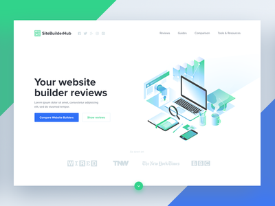 Site Builder Hub 👩‍💻 👨‍💻 illustration blue green ux ui hub builder site
