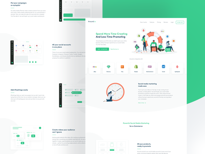 Around.io - Redesign 🧤 illustration green woocommerce stores post gif shopify etsy shop ux ui