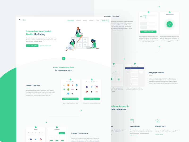 How It Works - Around 🧤 ui ux shop etsy shopify gif post stores woocommerce green illustration
