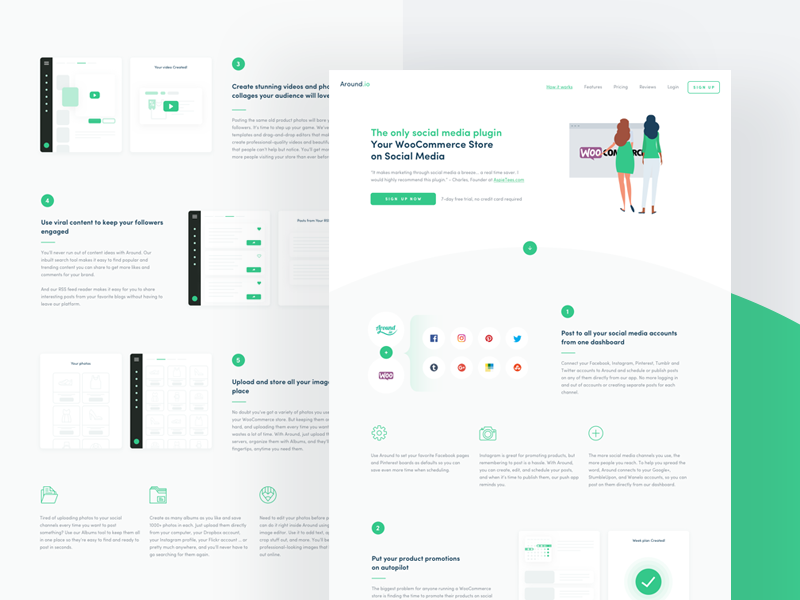 WooComrece - Around 🧤 illustration green woocommerce stores post gif shopify etsy shop ux ui
