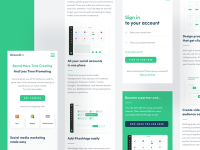 Around.io - Mobile 🧤 mobile ui ux shop etsy shopify gif post stores woocommerce green illustration