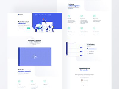 Locomotive 📑 clean business illustration blue technology platform marketer startup ux ui