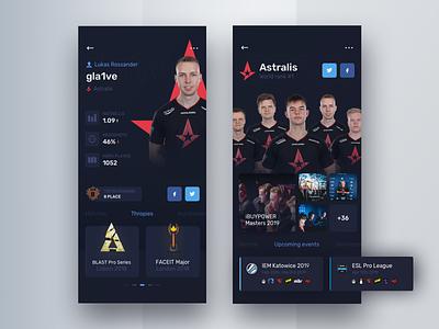 Player and team profile - Astralis esport mobile gla1ve astralis ui  ux design team csgo ui  ux ui
