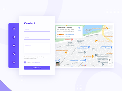 Contact form map design contact map contact form contact us contact social footer design send message maps desktop web design concept ux ui design
