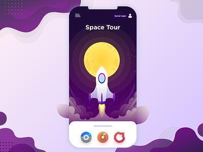 Space Tour Concept illustrator space ui app icon ux vector flat web design