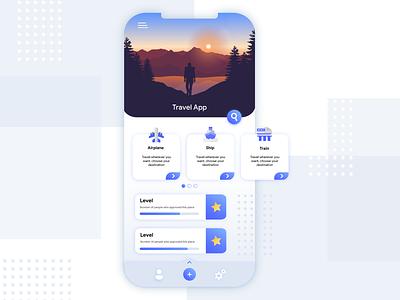 Travel app dribbble concept travel app design flat ux ui illustrator