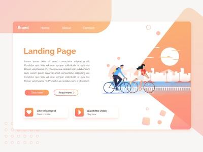 Landing Page Concept 2 codepen illustrator marketing travel web landing page flat concept ux ui design