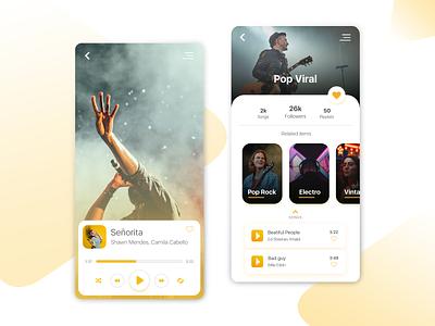 Music Player app Concept mobile ux design xd adobe xd app design player illustrator music app music player app flat concept ux ui design