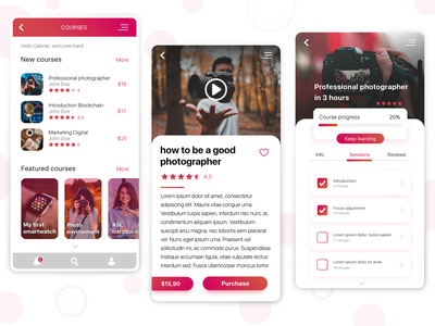 Learning App Concept web design product design mobile design mobile online store market courses app design xd app illustrator concept ux ui design