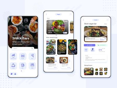 Food App Concept branding mobile design product design snack bar burger vegan food app food mobile app design web design app illustrator concept ux ui design