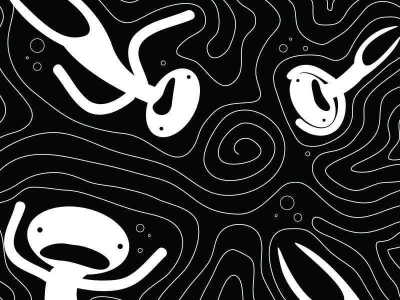 Drowning surreal bubbles spiral pattern black and white dream water drowning character