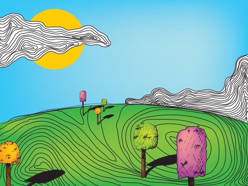Dreamland lines sun clouds trees contour lines colorful dream