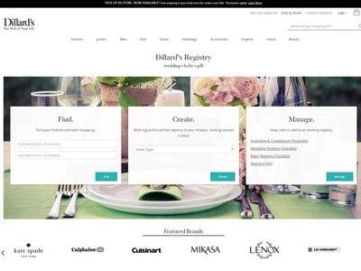 Dillard's Registry Redesign | Before & After