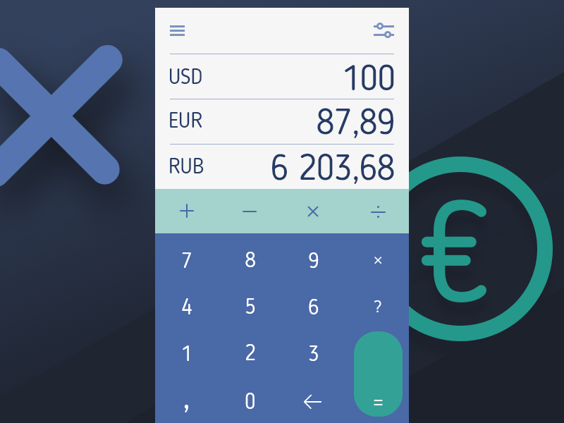Daily UI #004: Calculator dailyui ruble dollar euro converter currency calculator app