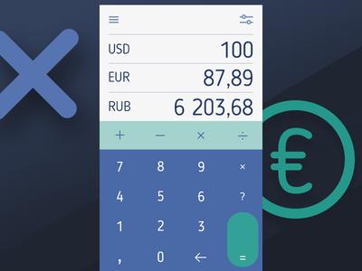 Daily UI #004: Calculator dailyui ruble dollar euro converter currency calculator app