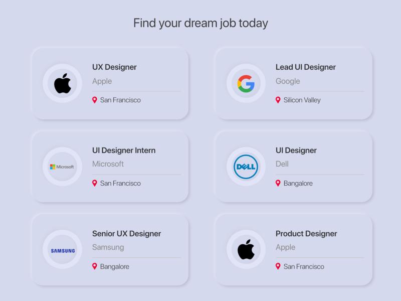 DailyUI050 - Job Listing adobe designers uidesigner uidesign designer design jobs neumorphic design neumorphism neumorphic adobexd job listing daily ui dailyuichallenge dailyui050 dailyui