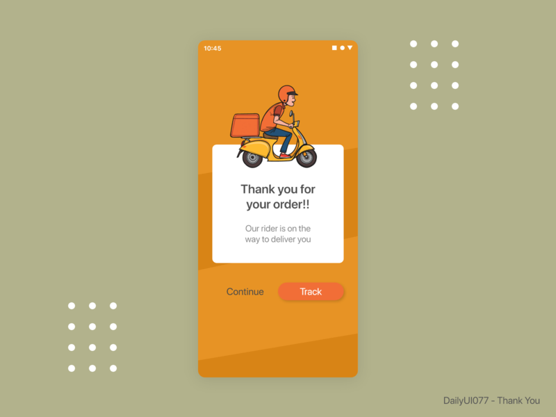 DailyUI077 - Thank You app design mobile app designers designer uidesigner uidesign shopping app mobile ui mobileui thankyou dribbble dailyuichallenge dailyui