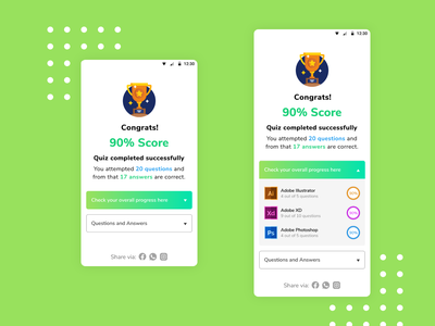 Questionnaire result screen mobile design mobile app design app design mobile app results quiz uidesigner xd design uidesigns screen ios android app design designer uidesign questionnaire result mobileui adobexd