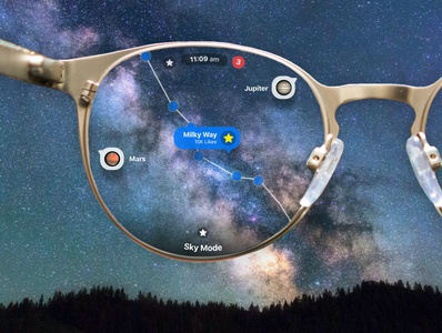 Apple Glass - Night Sky mode with AR design concept ux ui augmentedreality ios14 ios iphone12 iphone apple iglass appleglasses appleglass