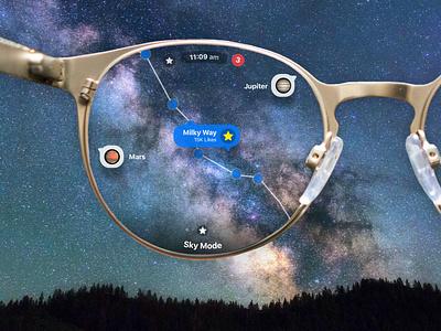 Apple Glass - Night Sky mode with AR design concept ux ui augmentedreality ios14 ios iphone12 iphone apple iglass appleglasses appleglass