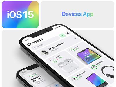 iOS 15 Devices App 📱💻🖥🎧 concept iphone iphone13 iphone12 ios ios12 ios13 ios14