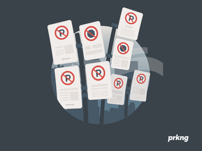 Prkng app : Signals illustration flat parking sign street howto app prkng
