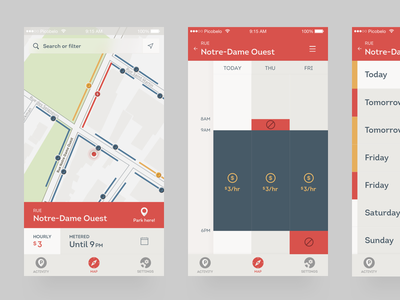 Prkng app : Street prkng agenda map parking flow mobile app