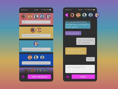 Messaging App iphone 11 flat design flat neon design mobile app design ui