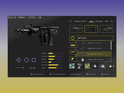 Weapons Creation for PS4 game design tv fps ps4 ui