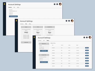 Account Settings website desktop design billing desktop application desktop account settings